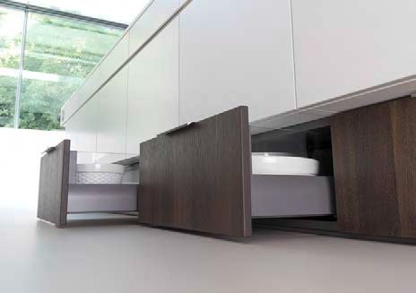 Low level kitchen drawers