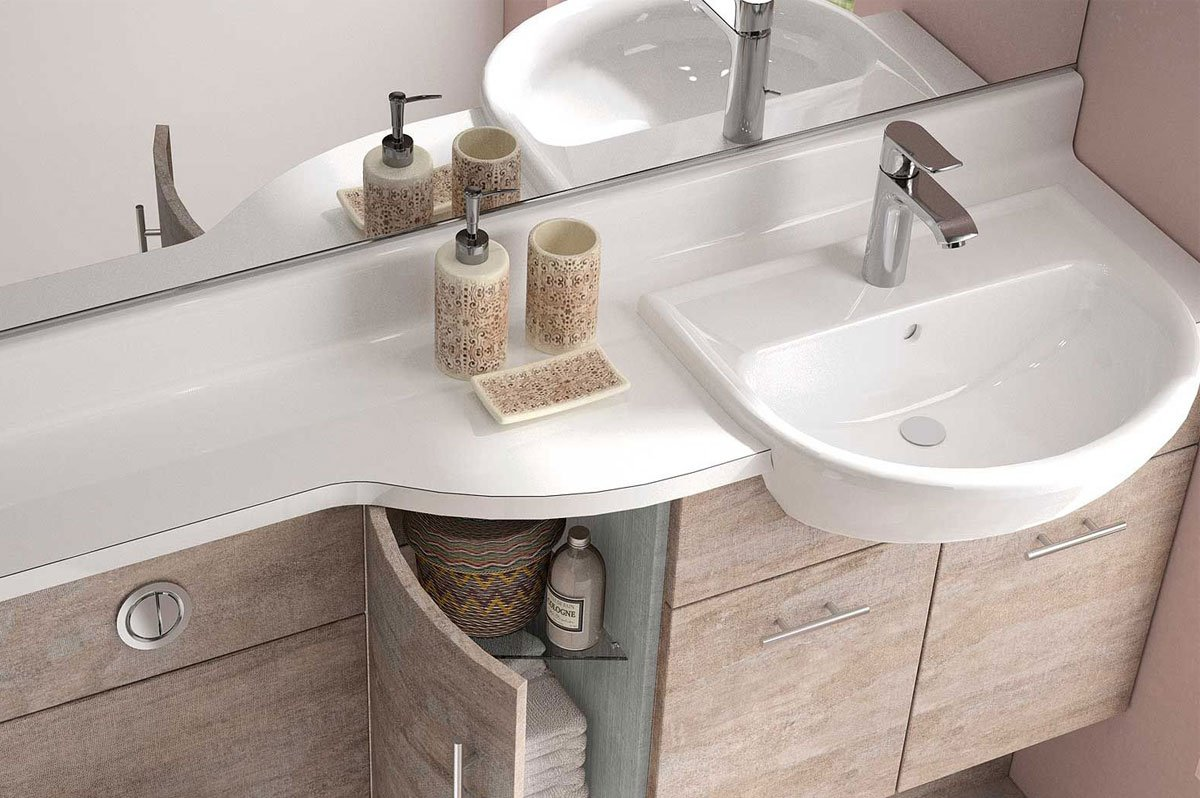Curved Depth Reduction Design Bathroom Units