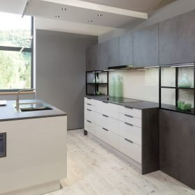 Light Grey Cabinets, Dark Grey Cupboards
